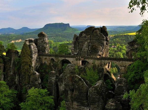 The Bastei Bridge in the Elbe Sandstone Mountains of Germany