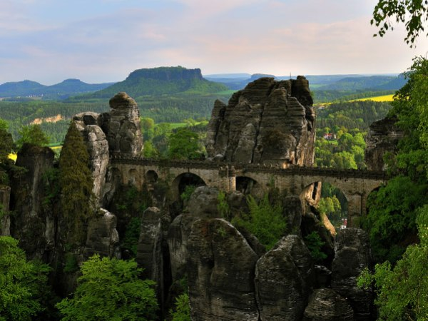 The Bastei Bridge in the Elbe Sandstone Mountains of Germany