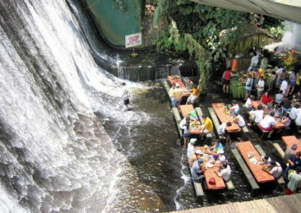 The Labassin Waterfall Restaurant, located at the Villa Escudero Resort in the Philippines
