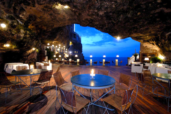 Ristorante Grotta Palazzese in the town of Polignano a Mare in southern Italy (province of Bari, Apulia)