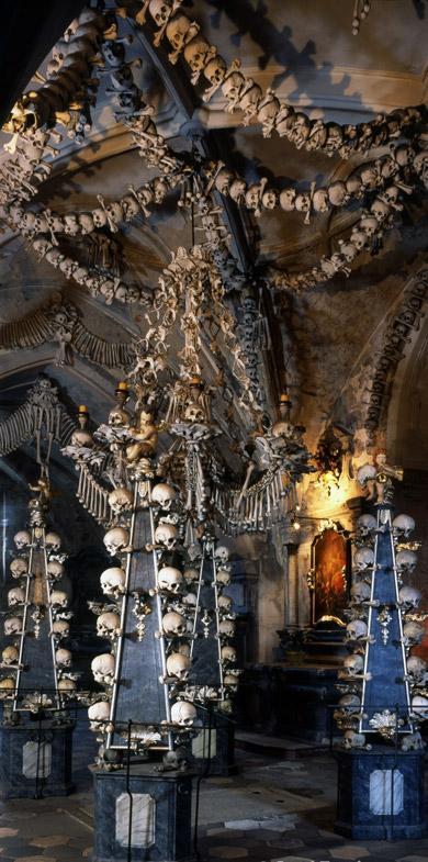 The bone church (the bones of up to 40000 people) in Kutna Hora, Czech Republic (not far away from Prague)