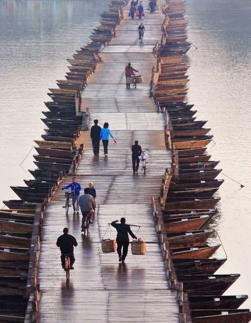 Wooden boats bridge, China