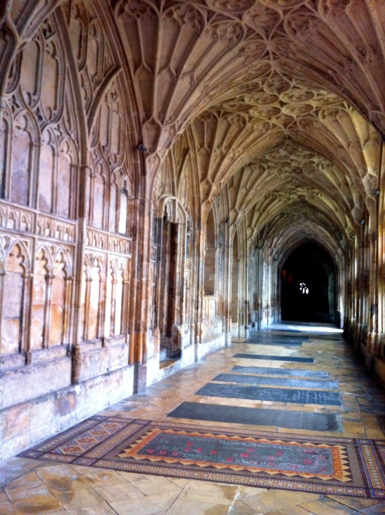 Gloucester Cathedral n Gloucester, England. The cathedral has been used from as a location for the Harry Potter films.